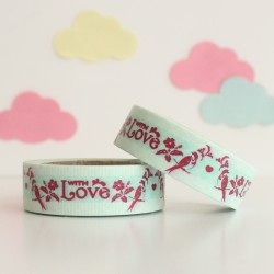 Washi tape azul with love