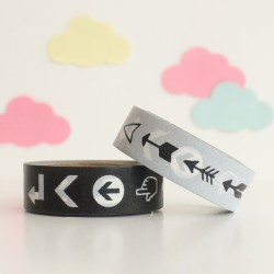 Washi tape blanco y negro flechas