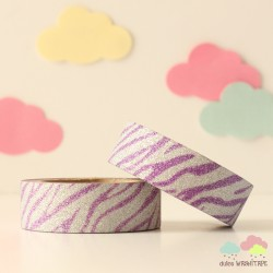 Washi Tape purpurina zebra violeta