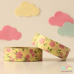 Washi Tape amarillo flores rosa