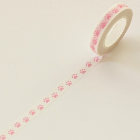 Washi tape huellas rosas