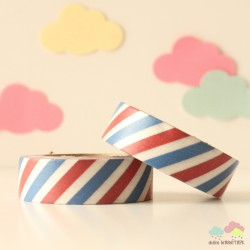 Washi Tape barras azules y rojas
