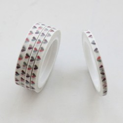 Washi tape slim corazones bicolores