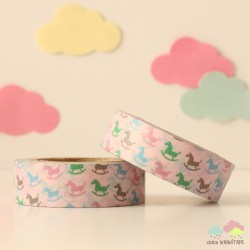 Washi Tape caballitos de madera multicolores