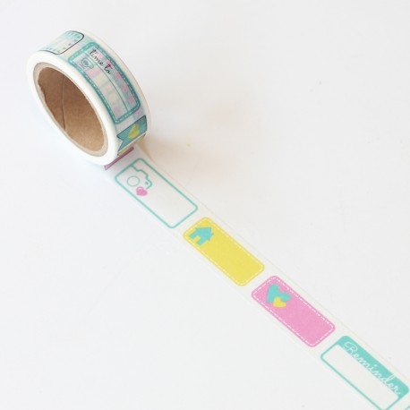 Washi tape precortado etiquetas