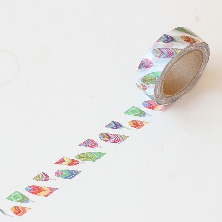Washi tape estampado plumas