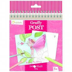 Postales Graffy post para colorear- Hadas y flores