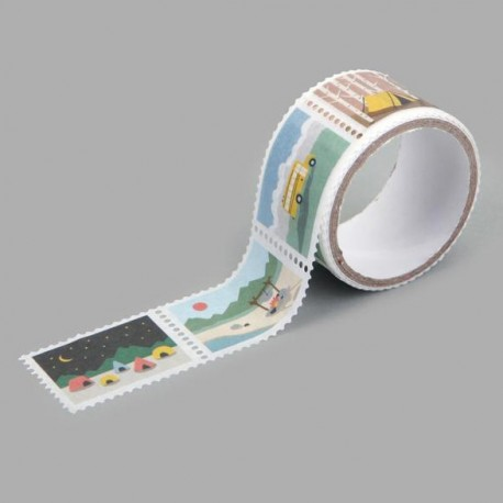 Washi tape precortado sellos camping