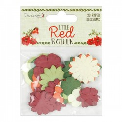 30 flores de papel Little red robin