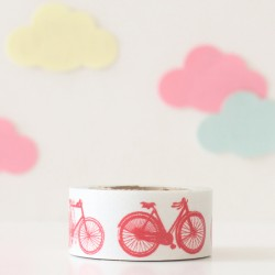 Washi tape bicicletas y motos rojas