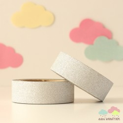 Washi Tape purpurina plateado